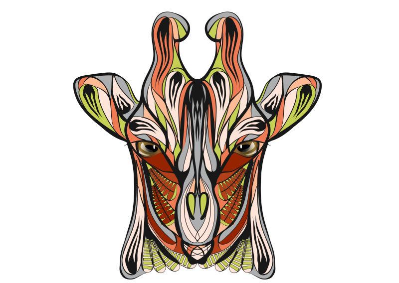 矢量彩色长颈鹿