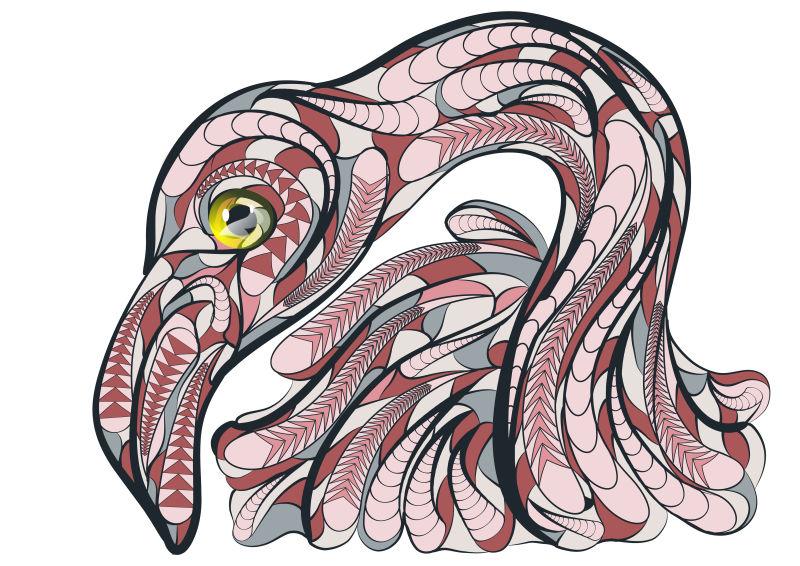 矢量彩色民族火烈鸟图案设计