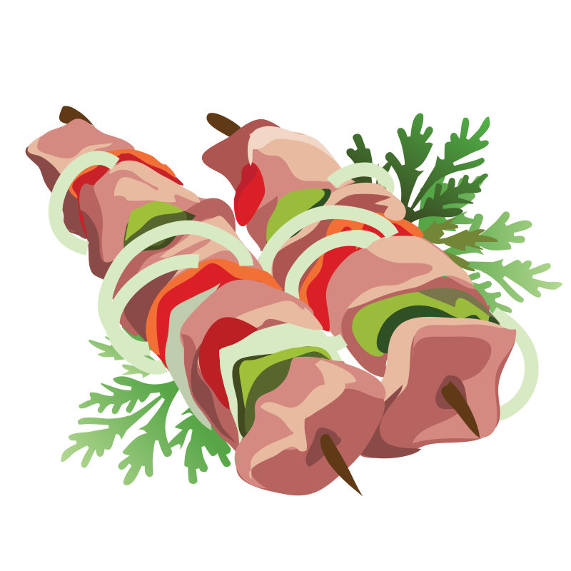 矢量卡通烤肉串平面插图