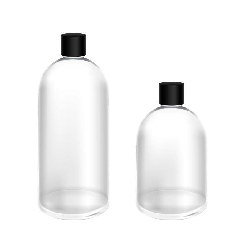 矢量大小不同的玻璃瓶