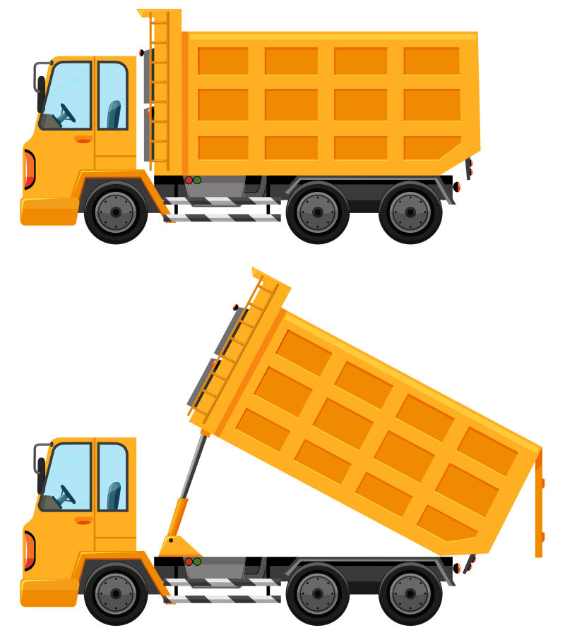 黄色垃圾车矢量插图