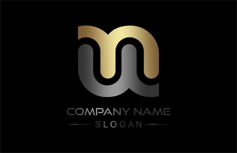 矢量商业logo金银双色图表