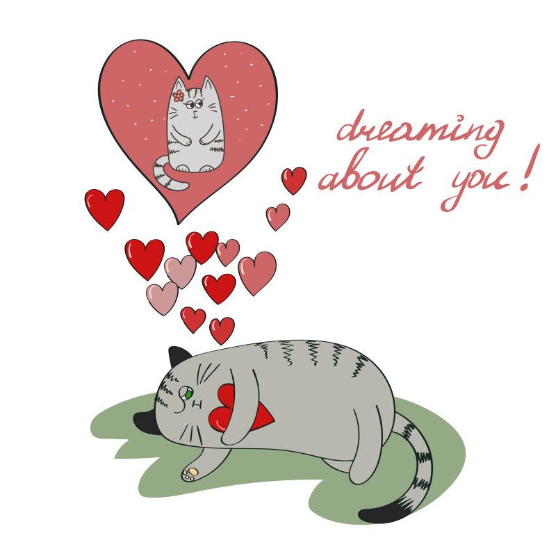 矢量的熟睡小猫插图