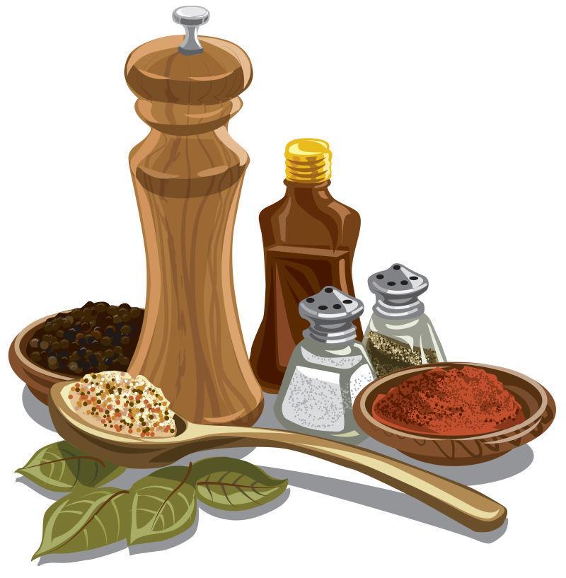 矢量烹饪用天然香料和香料