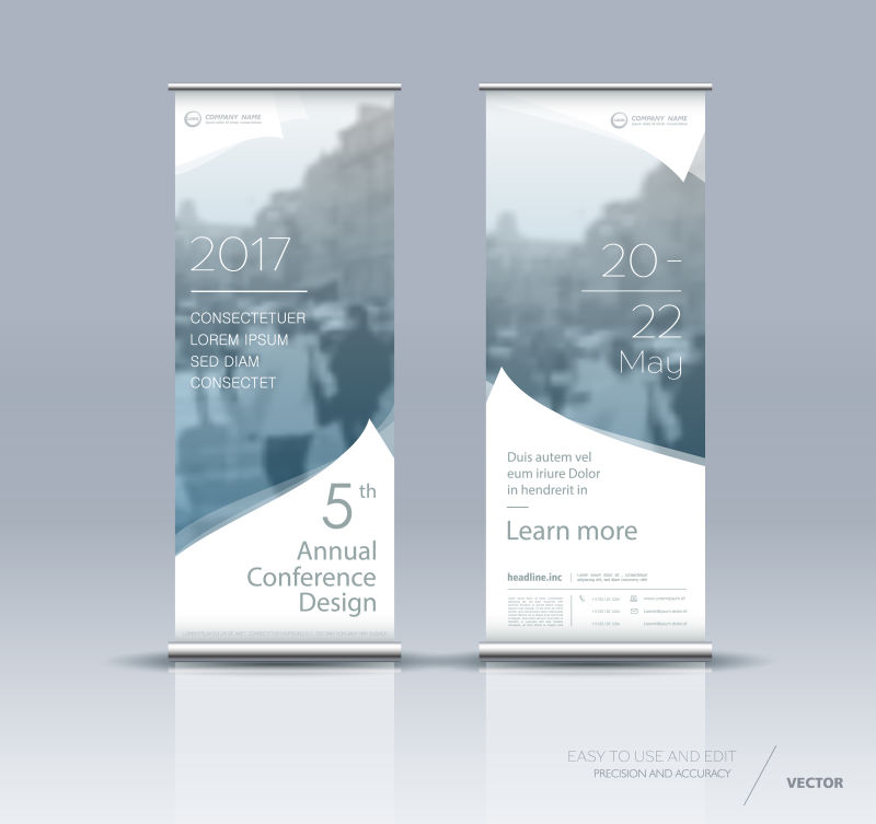 创意矢量现代都市元素的竖横幅设计