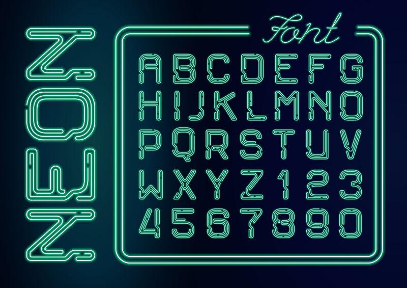 抽象矢量绿色霓虹灯管排列的字母设计