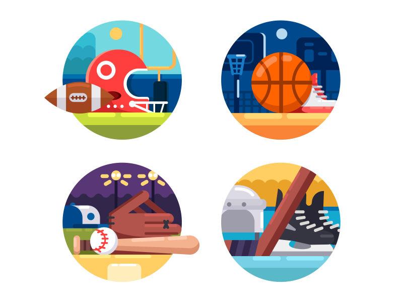创意矢量卡通球类运动图标设计