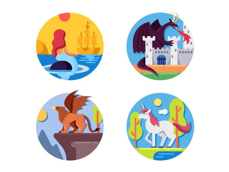 抽象矢量童话生物图标设计