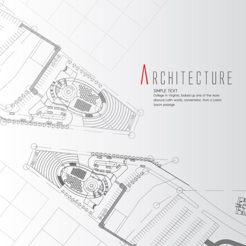 创意矢量建筑平面设计插图