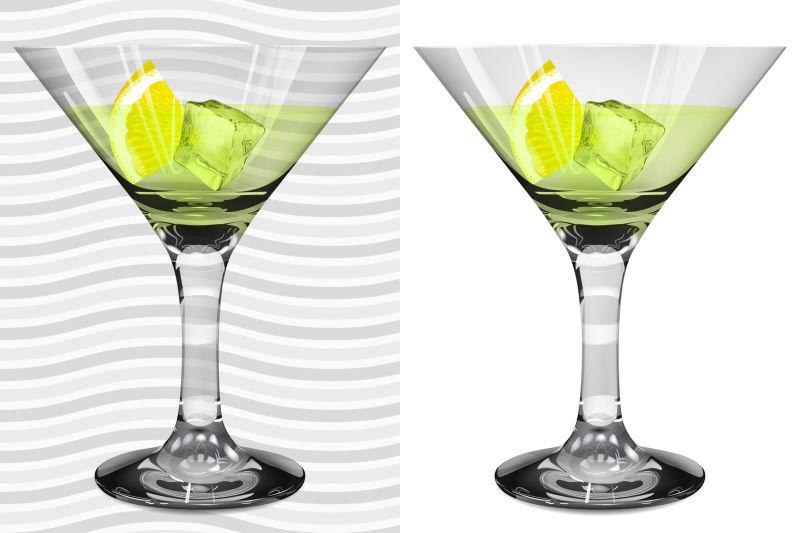 鸡尾酒的酒杯插图矢量设计