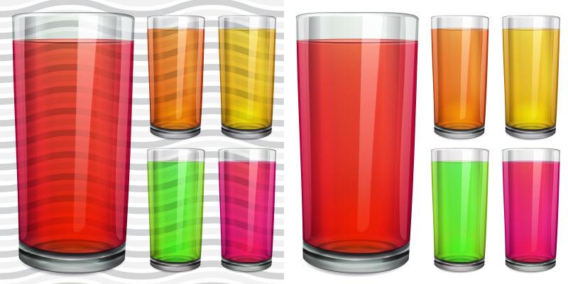装着饮料的矢量玻璃杯插图