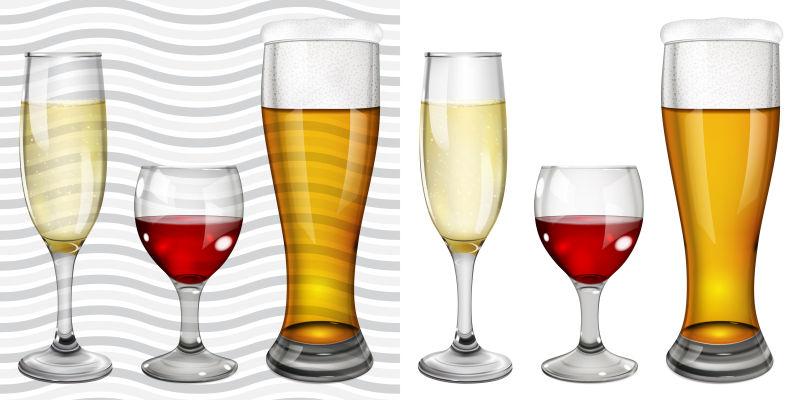 矢量的鸡尾酒酒杯插图设计