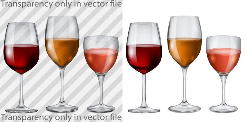 鸡尾酒酒杯插图矢量设计