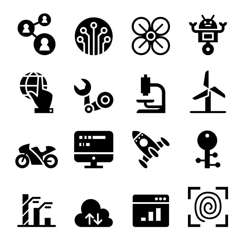 抽象矢量技术概念图标设计