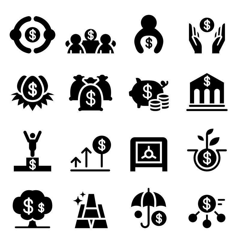 抽象矢量金钱概念图标设计