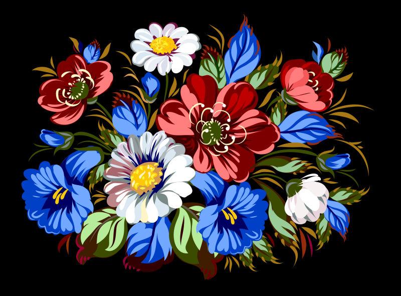 矢量彩色花束