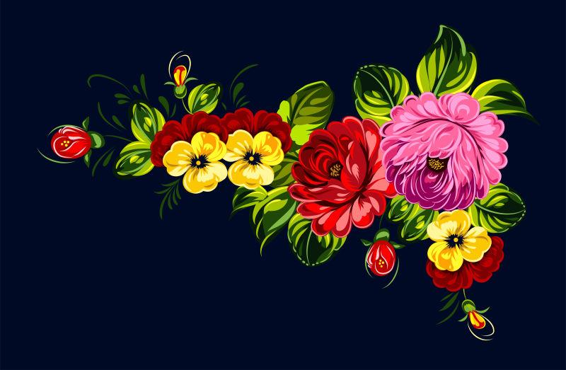 矢量彩色的花束