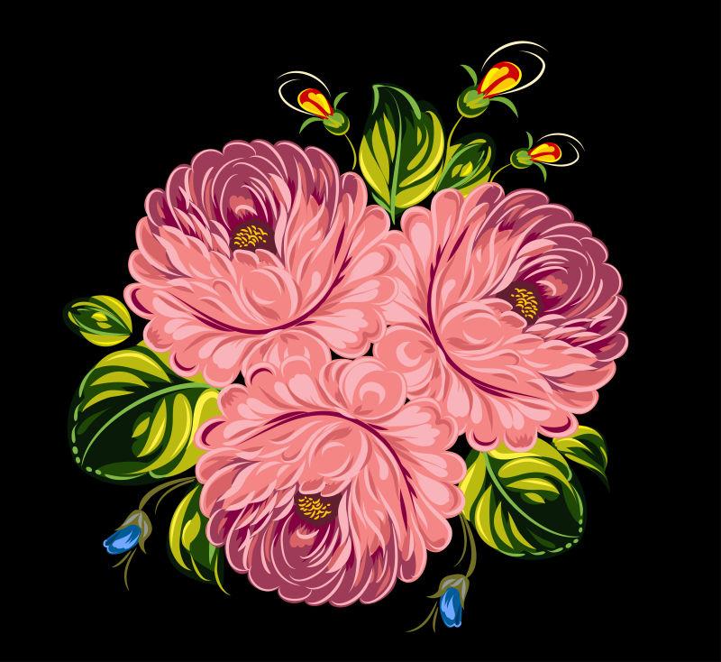 矢量粉色花束