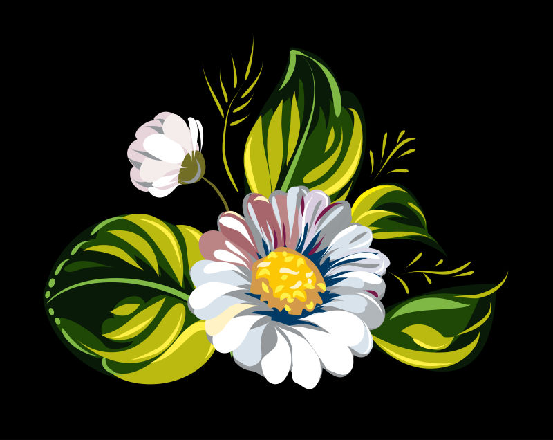 矢量白色花束