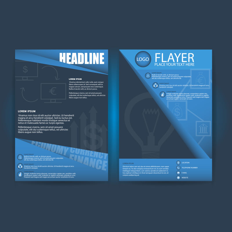 抽象矢量现代蓝色几何宣传封面设计