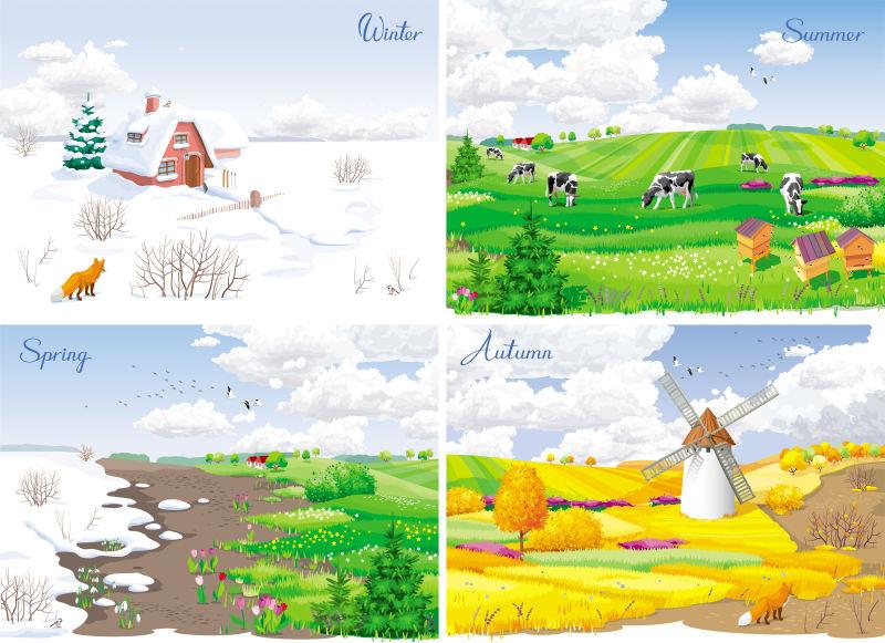 抽象矢量现代四季农场景观插图