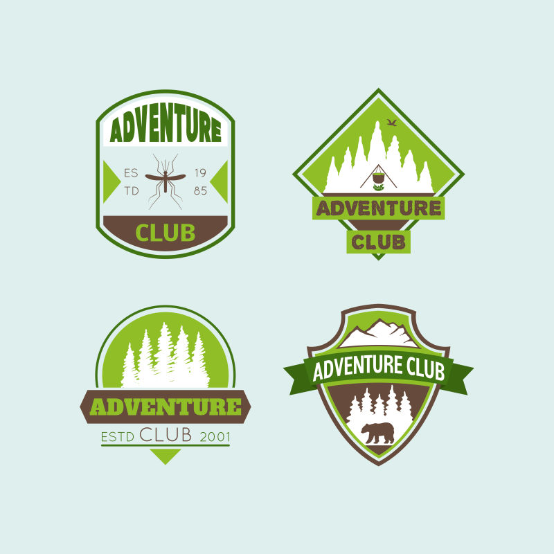 矢量的山地探险徽章