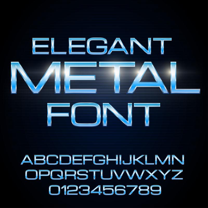 抽象矢量蓝色金属字体设计