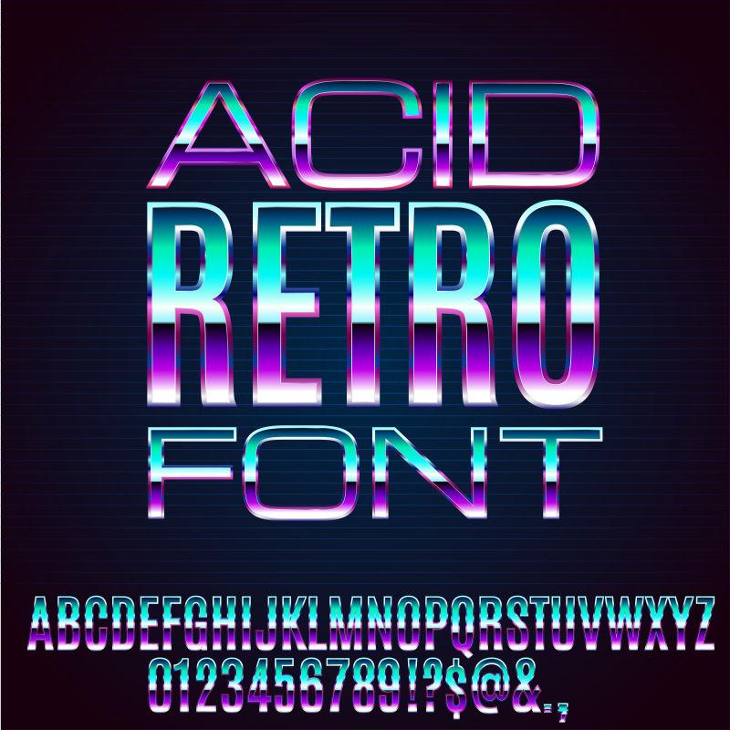 抽象矢量复古商业发光字母数字设计
