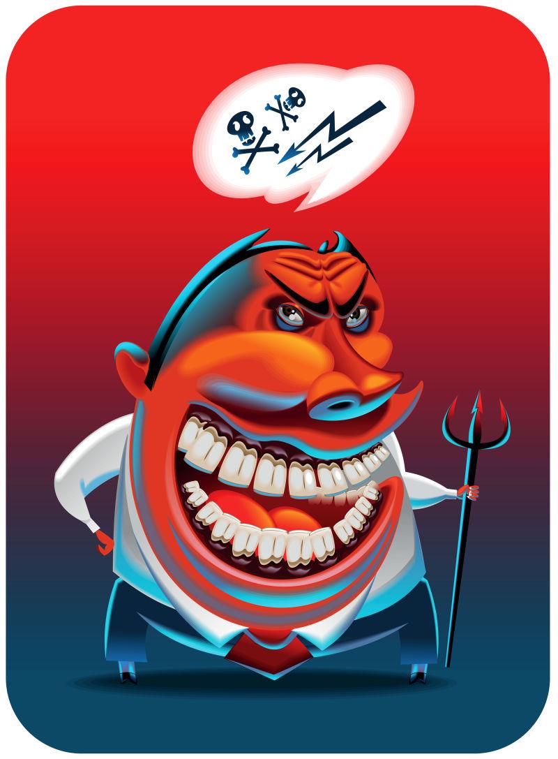 创意矢量现代恶魔卡通插图