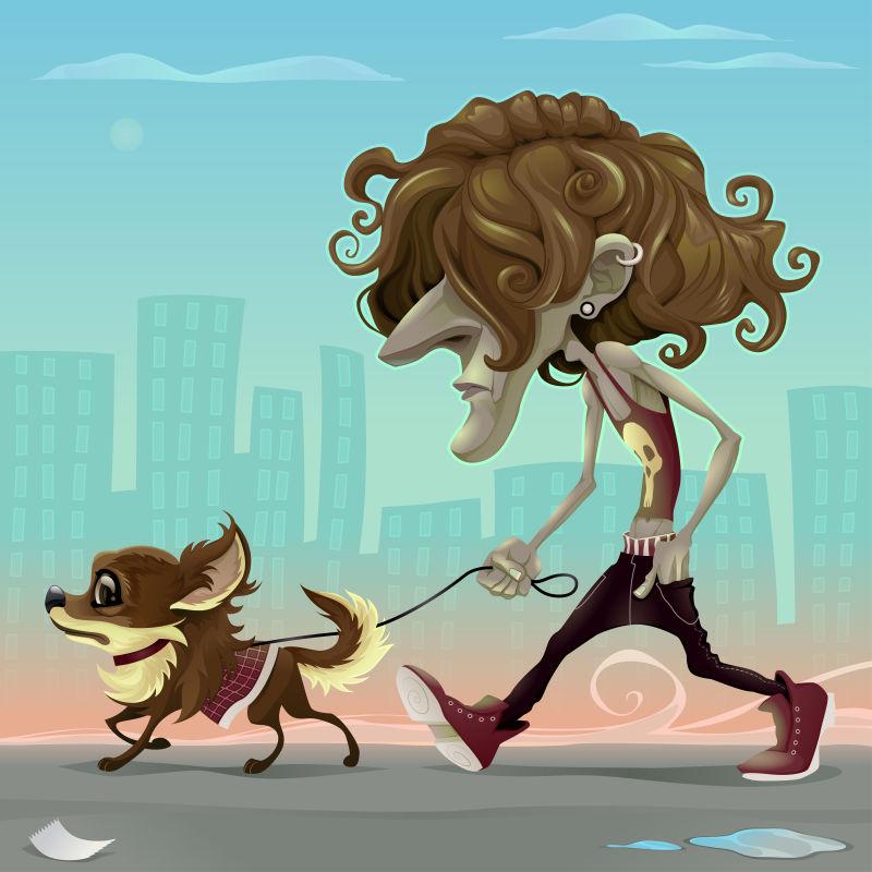 创意矢量卡通遛狗的人插图