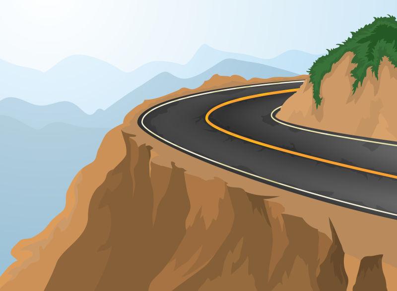 山顶的道路矢量插图