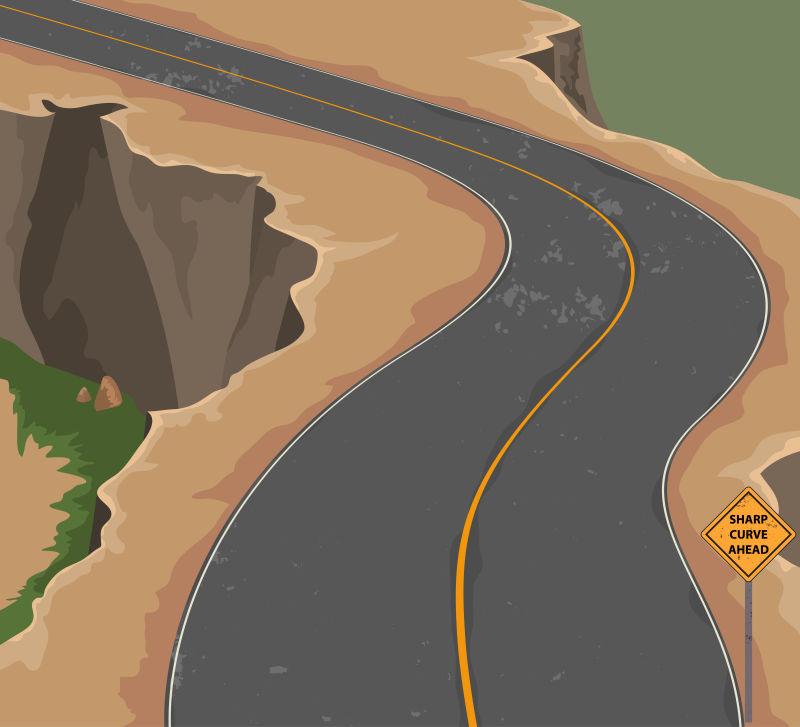矢量的山间道路插图