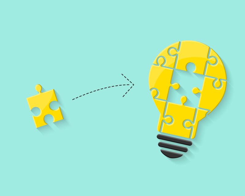 创造性思维概念拼图插图矢量设计
