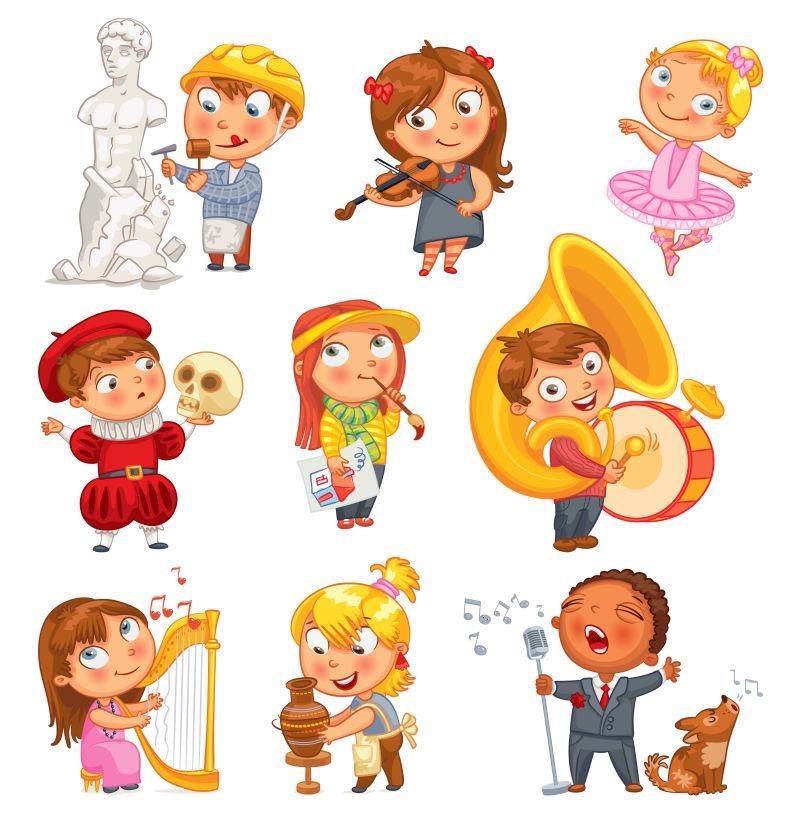 爱好和兴趣孩子卡通矢量