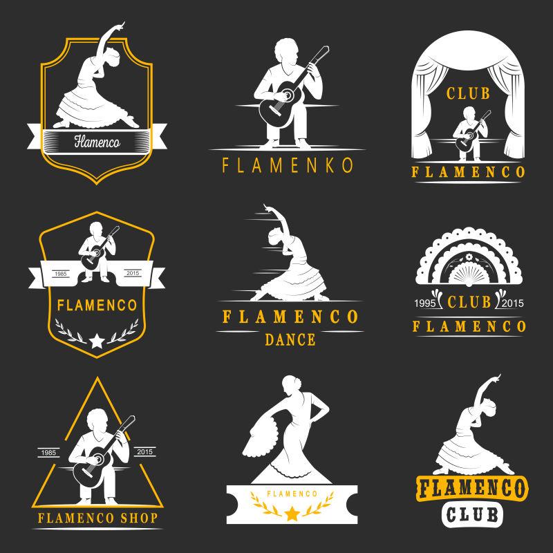 传统西班牙舞蹈矢量徽章和剪影弗拉门戈