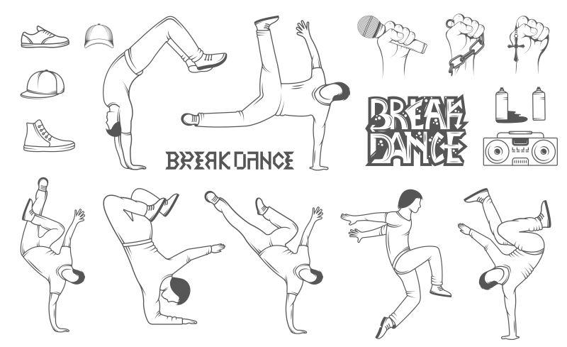 一组不同姿势的霹雳男孩剪影矢量插图