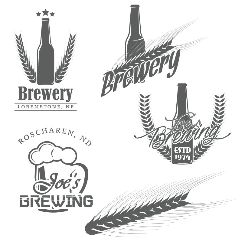 创意矢量工艺啤酒标志设计
