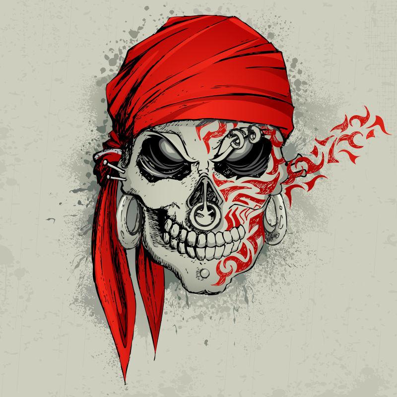 海盗头骨插图矢量设计