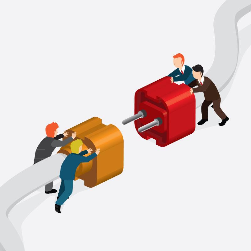 企业工作合作概念矢量等距插图