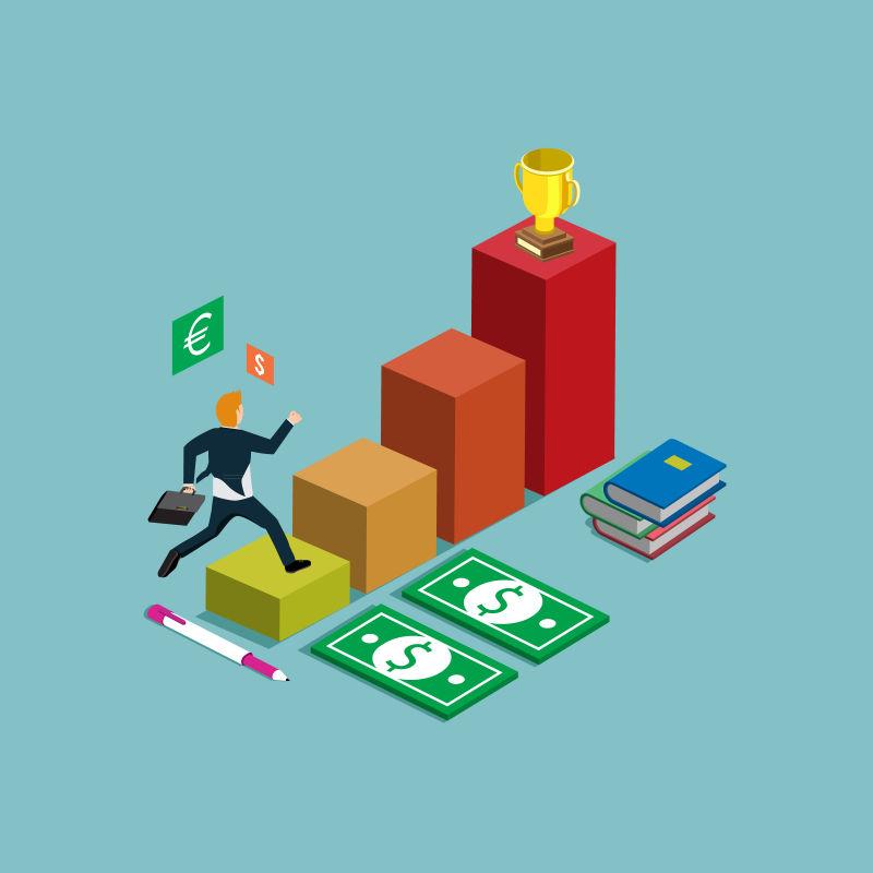 利润图金融概念矢量等距插图