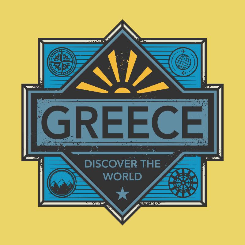 古希腊城市矢量徽章