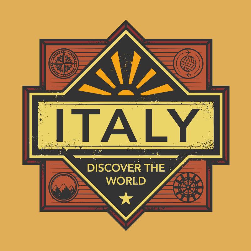 意大利矢量城市徽章