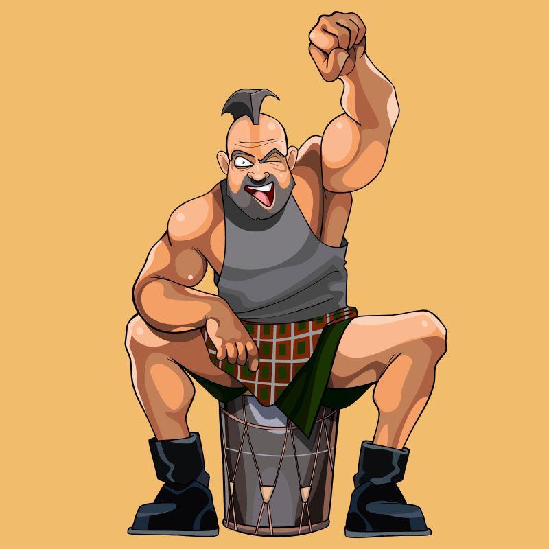 坐着的健壮肌肉男矢量