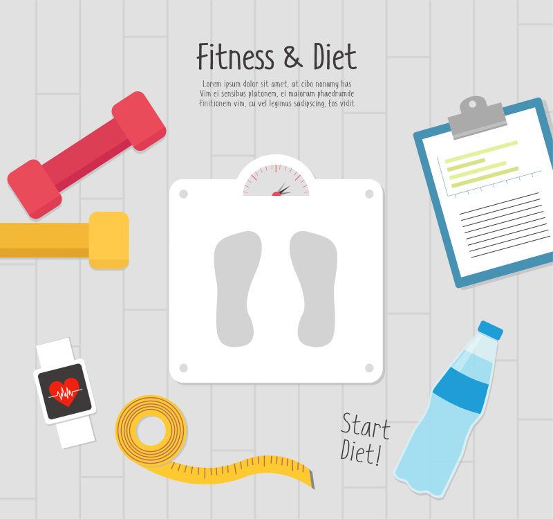 创意矢量健身主题的平面插图