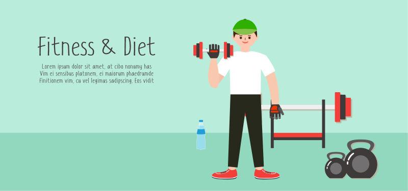 创意矢量肌肉力量锻炼的平面插图