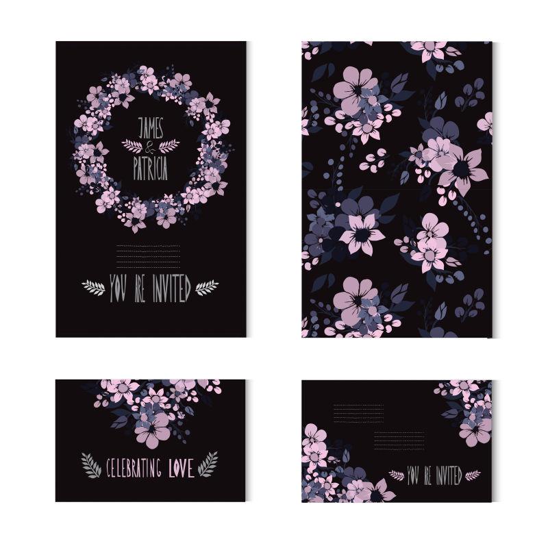 创意矢量粉色花卉元素的卡片设计