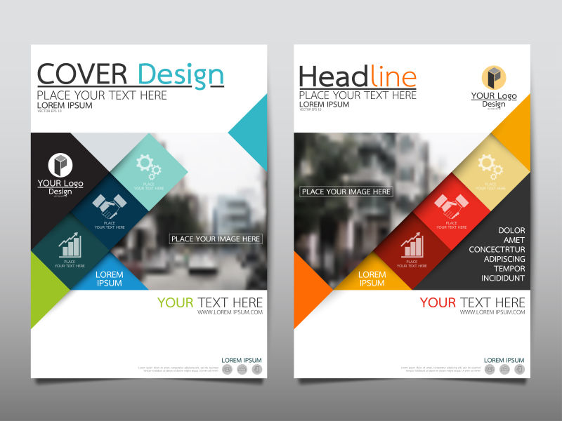 创意矢量几何风格的宣传海报设计