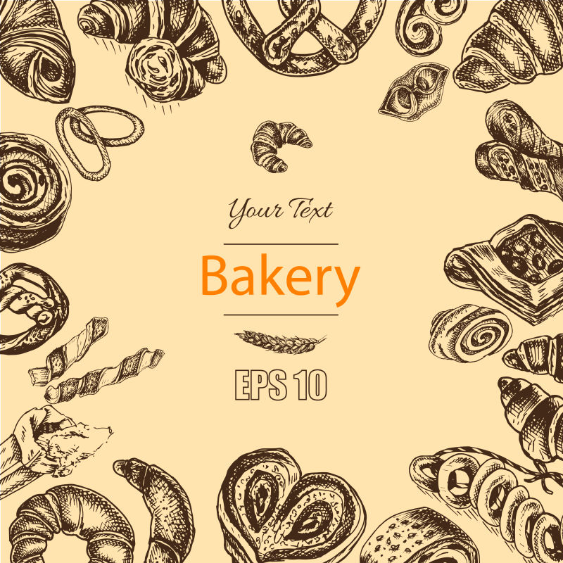 新鲜的法式面包的插图素描矢量