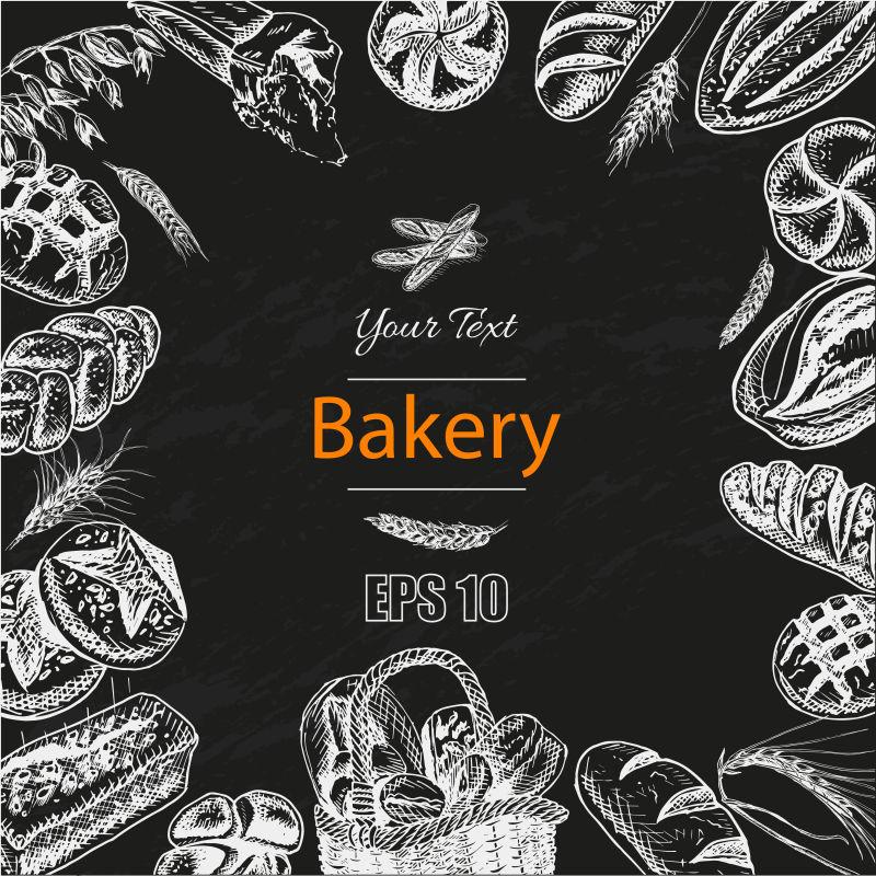 面包房内新鲜糕点矢量插图素描