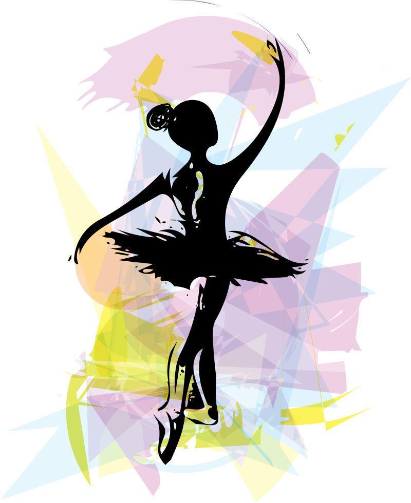 美丽芭蕾舞曲舞步矢量插图
